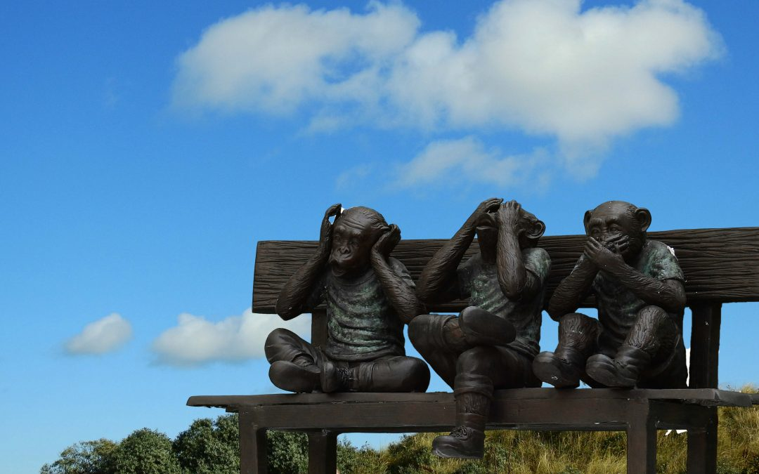 "header picture of the ""The Critical Voice – The little devil on our shoulder"" article, 3 monkey statue sitting on a bench, on is holding his ears, second is holding his eyes, third is holding his mouth"